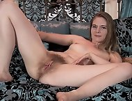 On her bed we enjoy sexy Alice Wonder masturbate